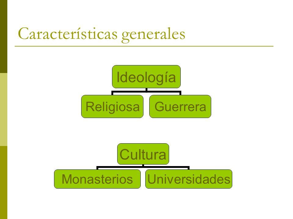 Características generales Ideología ReligiosaGuerrera Cultura MonasteriosUniversidades