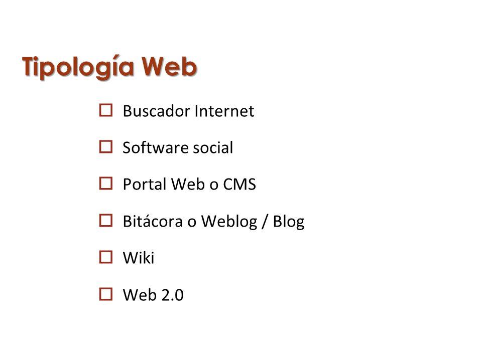 Tipología Web Buscador Internet Software social Portal Web o CMS Bitácora o Weblog / Blog Wiki Web 2.0