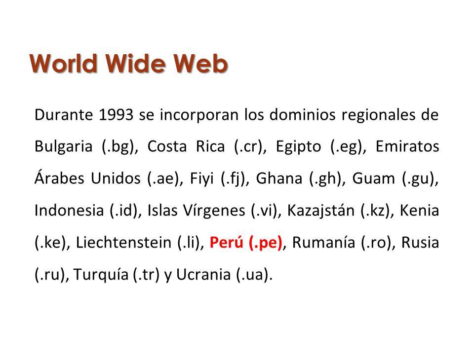 World Wide Web Durante 1993 se incorporan los dominios regionales de Bulgaria (.bg), Costa Rica (.cr), Egipto (.eg), Emiratos Árabes Unidos (.ae), Fiyi (.fj), Ghana (.gh), Guam (.gu), Indonesia (.id), Islas Vírgenes (.vi), Kazajstán (.kz), Kenia (.ke), Liechtenstein (.li), Perú (.pe), Rumanía (.ro), Rusia (.ru), Turquía (.tr) y Ucrania (.ua).