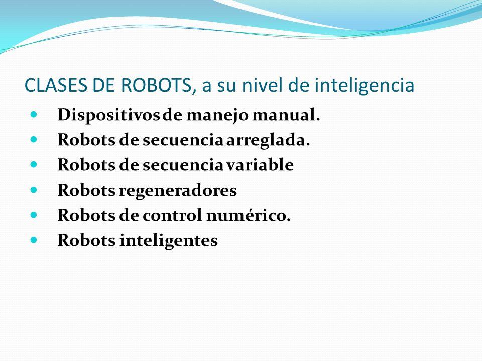 CLASES DE ROBOTS, a su nivel de inteligencia Dispositivos de manejo manual. Robots de secuencia arreglada. Robots de secuencia variable Robots regener