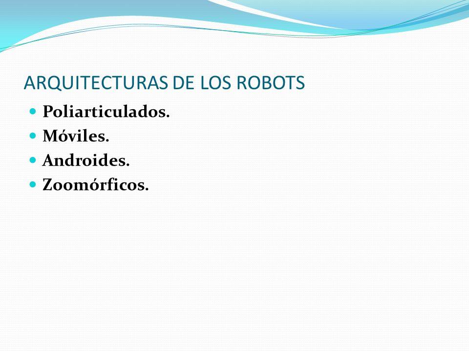 ARQUITECTURAS DE LOS ROBOTS Poliarticulados. Móviles. Androides. Zoomórficos.