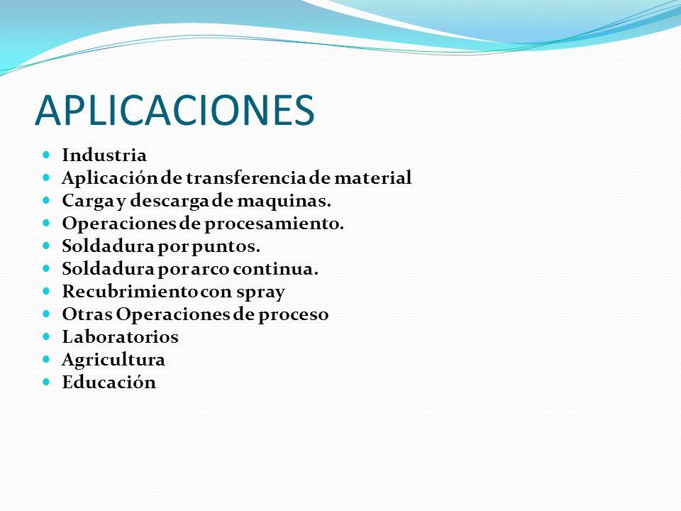 APLICACIONES Industria Aplicación de transferencia de material Carga y descarga de maquinas. Operaciones de procesamiento. Soldadura por puntos. Solda