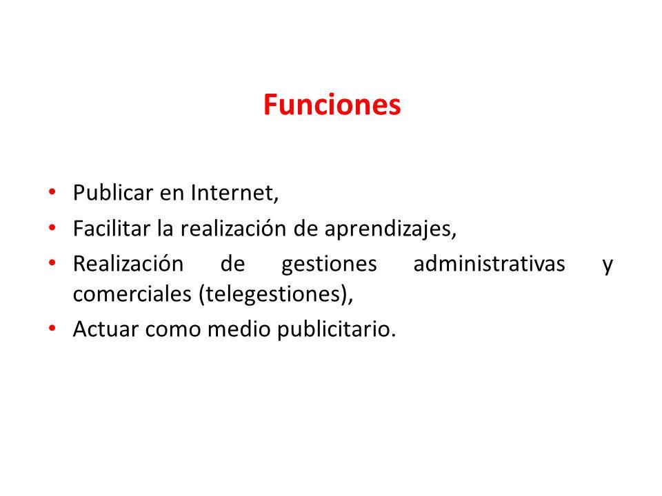 Publicar en Internet, Facilitar la realización de aprendizajes, Realización de gestiones administrativas y comerciales (telegestiones), Actuar como me