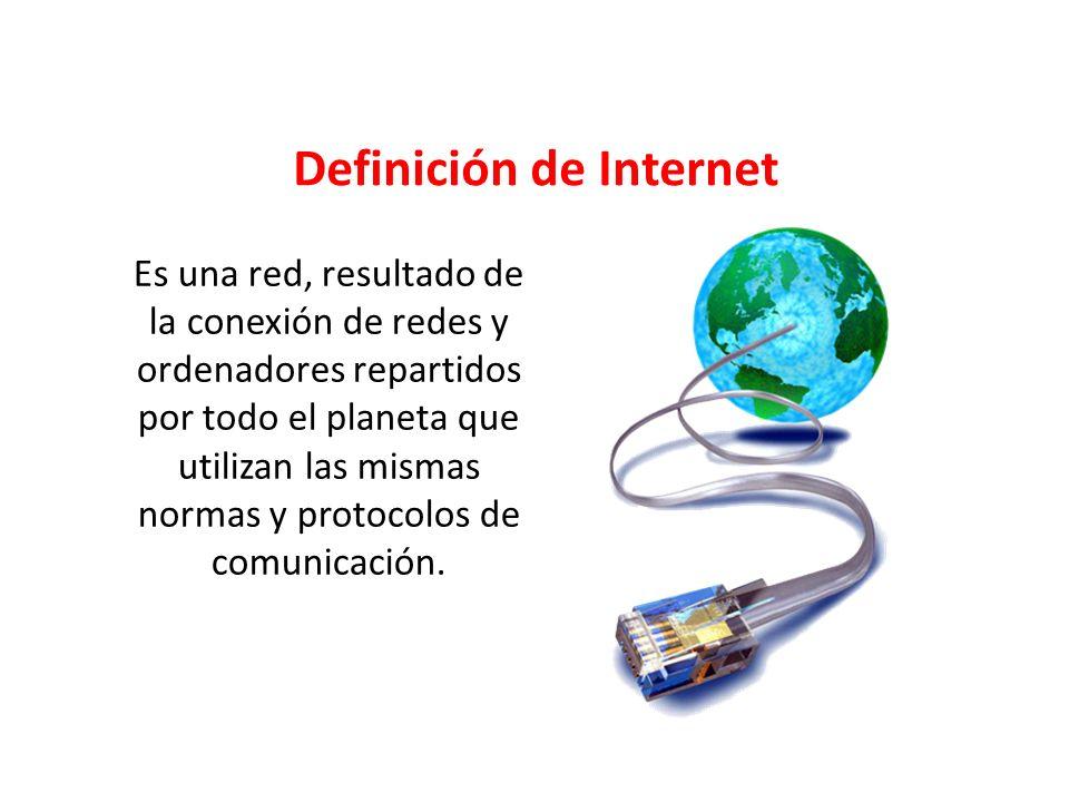 Es una red, resultado de la conexión de redes y ordenadores repartidos por todo el planeta que utilizan las mismas normas y protocolos de comunicación