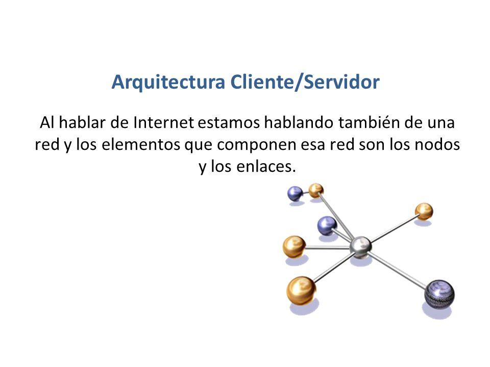 Arquitectura Cliente/Servidor Al hablar de Internet estamos hablando también de una red y los elementos que componen esa red son los nodos y los enlac