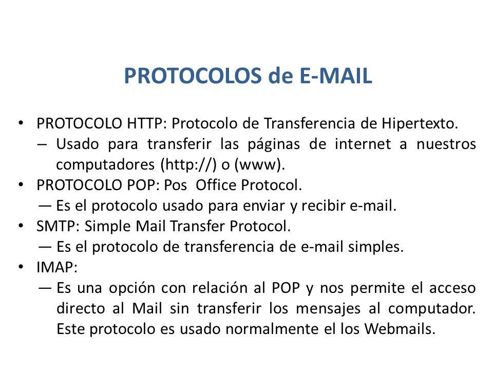 PROTOCOLOS de E-MAIL PROTOCOLO HTTP: Protocolo de Transferencia de Hipertexto. – Usado para transferir las páginas de internet a nuestros computadores