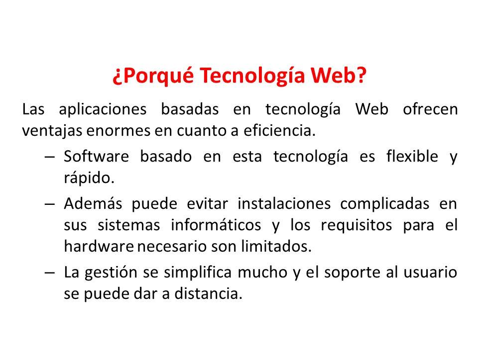 Las aplicaciones basadas en tecnología Web ofrecen ventajas enormes en cuanto a eficiencia. – Software basado en esta tecnología es flexible y rápido.