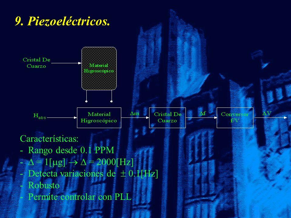 9. Piezoeléctricos. Características: - - Rango desde 0.1 PPM - - = 1[ g] = 2000[Hz] - - Detecta variaciones de 0.1[Hz] - - Robusto - - Permite control