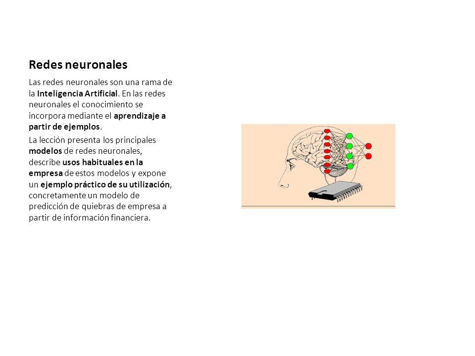 Redes neuronales Las redes neuronales son una rama de la Inteligencia Artificial. En las redes neuronales el conocimiento se incorpora mediante el apr