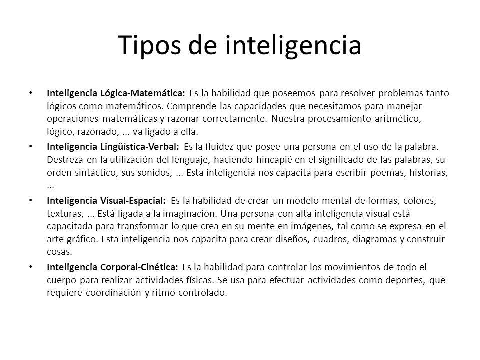 Tipos de inteligencia Inteligencia Lógica-Matemática: Es la habilidad que poseemos para resolver problemas tanto lógicos como matemáticos. Comprende l