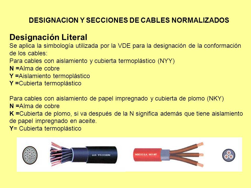 DESIGNACION Y SECCIONES DE CABLES NORMALIZADOS Designación Literal Se aplica la simbología utilizada por la VDE para la designación de la conformación