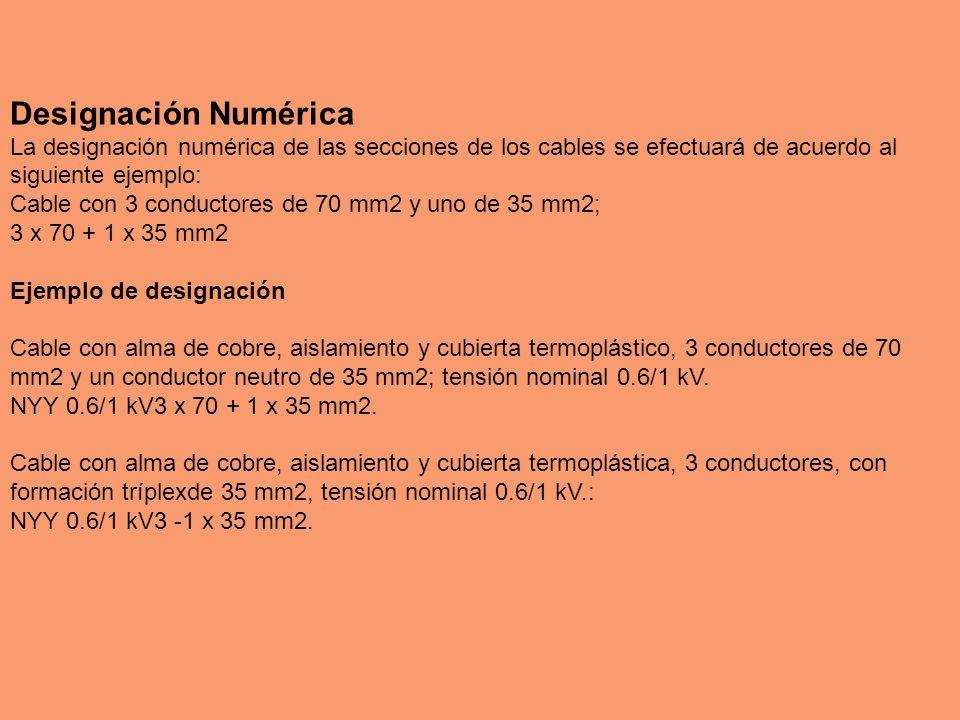 Designación Numérica La designación numérica de las secciones de los cables se efectuará de acuerdo al siguiente ejemplo: Cable con 3 conductores de 7
