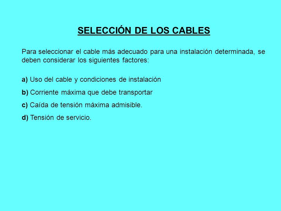 SELECCIÓN DE LOS CABLES Para seleccionar el cable más adecuado para una instalación determinada, se deben considerar los siguientes factores: a) Uso d