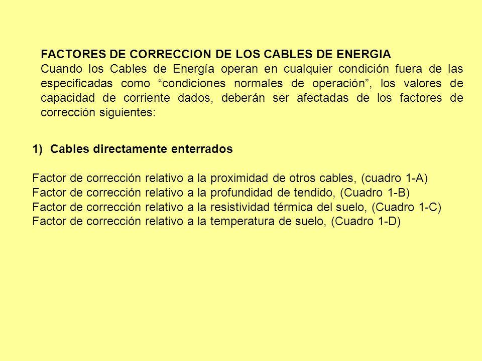 FACTORES DE CORRECCION DE LOS CABLES DE ENERGIA Cuando los Cables de Energía operan en cualquier condición fuera de las especificadas como condiciones