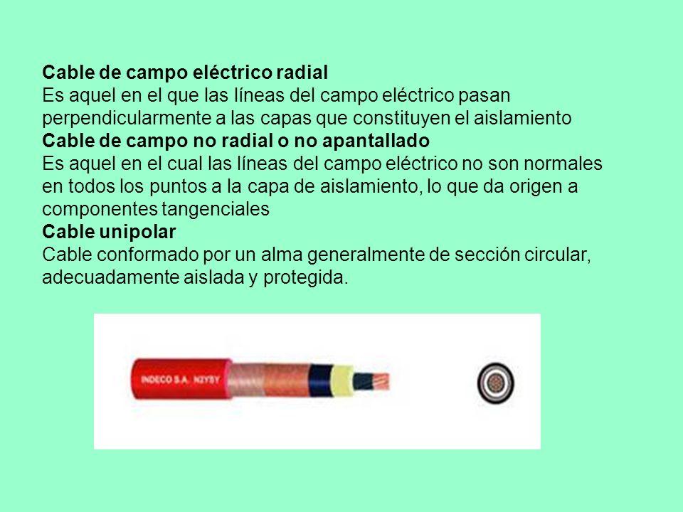 Cable de campo eléctrico radial Es aquel en el que las líneas del campo eléctrico pasan perpendicularmente a las capas que constituyen el aislamiento