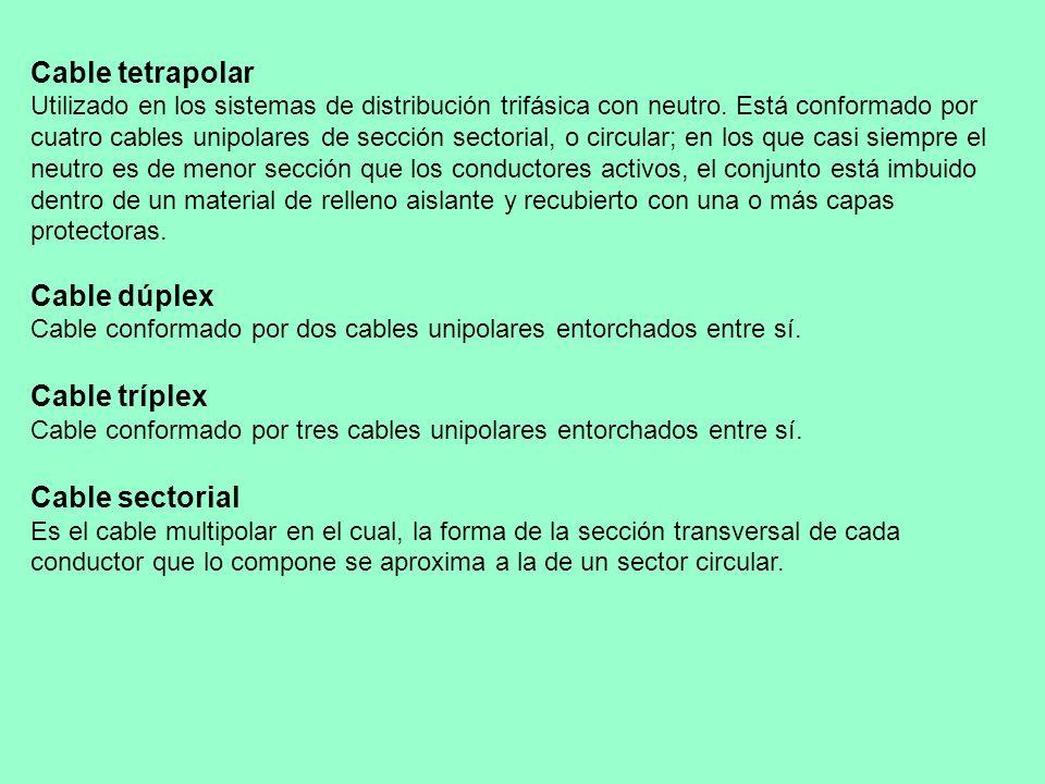 Cable tetrapolar Utilizado en los sistemas de distribución trifásica con neutro. Está conformado por cuatro cables unipolares de sección sectorial, o