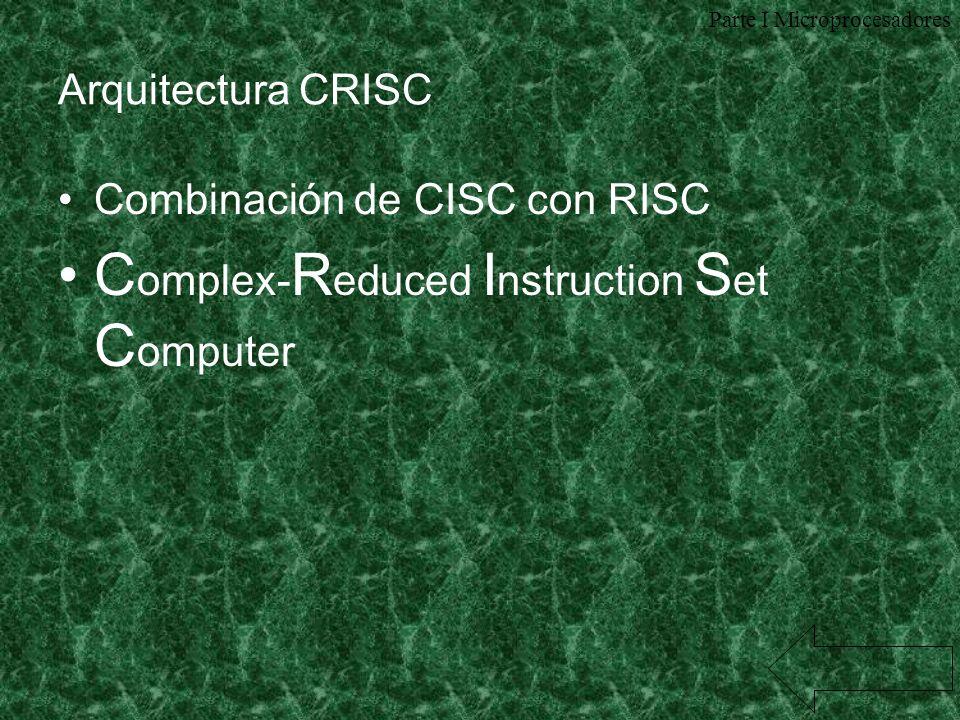 Arquitectura CRISC Combinación de CISC con RISC C omplex- R educed I nstruction S et C omputer Parte I Microprocesadores