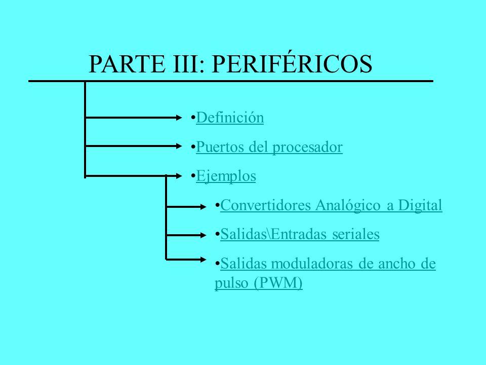 PARTE III: PERIFÉRICOS Definición Puertos del procesador Ejemplos Convertidores Analógico a Digital Salidas\Entradas seriales Salidas moduladoras de a