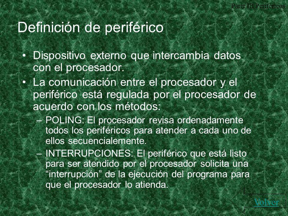 Definición de periférico Dispositivo externo que intercambia datos con el procesador. La comunicación entre el procesador y el periférico está regulad