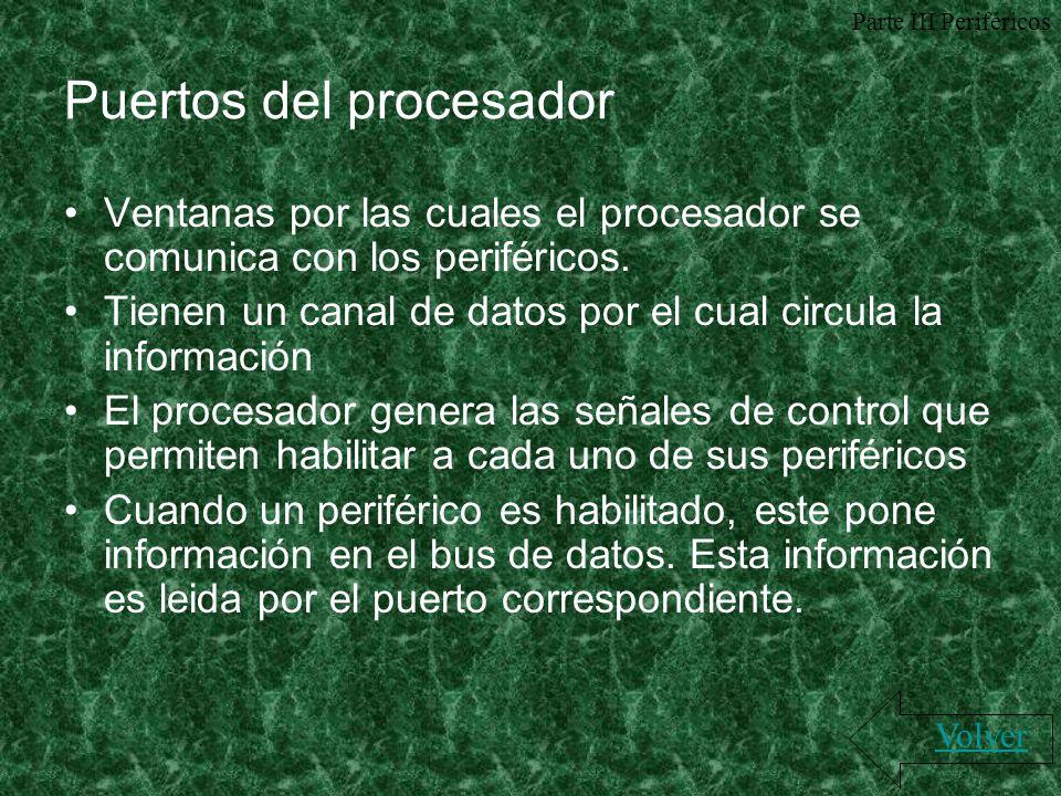 Puertos del procesador Ventanas por las cuales el procesador se comunica con los periféricos. Tienen un canal de datos por el cual circula la informac