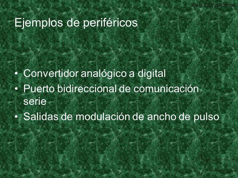 Ejemplos de periféricos Convertidor analógico a digital Puerto bidireccional de comunicación serie Salidas de modulación de ancho de pulso Parte III P