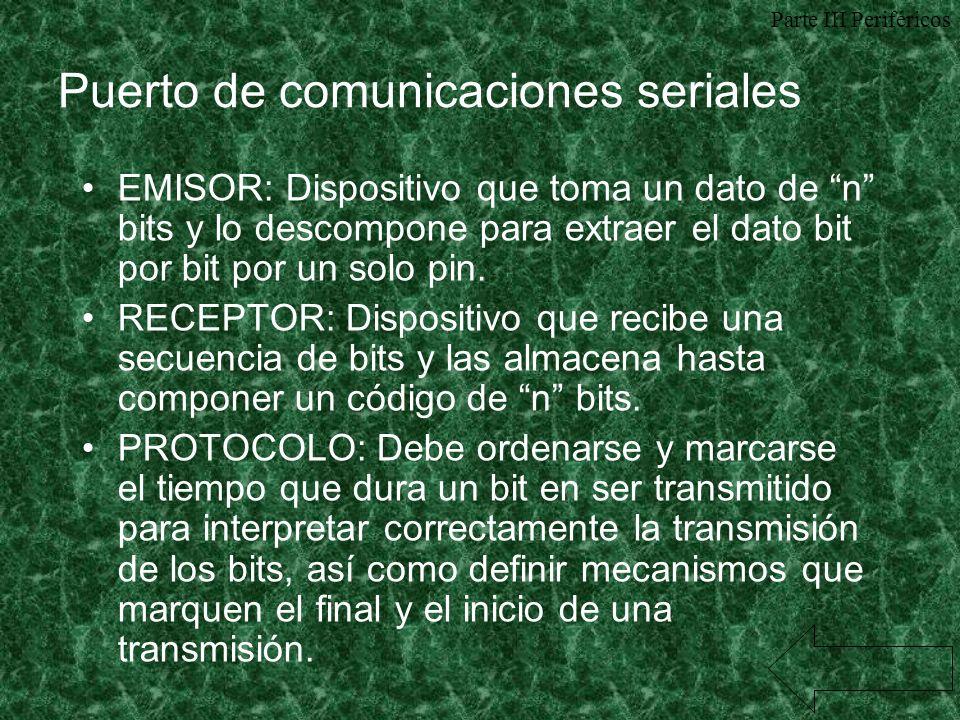 Puerto de comunicaciones seriales EMISOR: Dispositivo que toma un dato de n bits y lo descompone para extraer el dato bit por bit por un solo pin. REC
