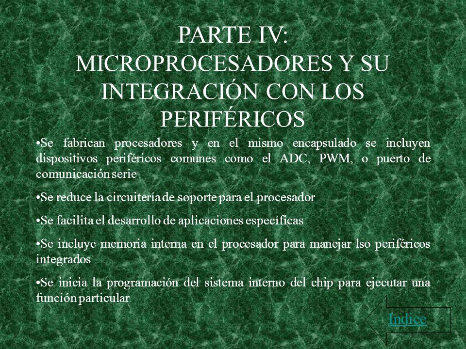 PARTE IV: MICROPROCESADORES Y SU INTEGRACIÓN CON LOS PERIFÉRICOS Indice Se fabrican procesadores y en el mismo encapsulado se incluyen dispositivos pe