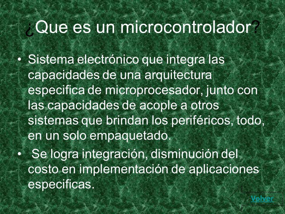 ¿Que es un microcontrolador? Sistema electrónico que integra las capacidades de una arquitectura especifica de microprocesador, junto con las capacida