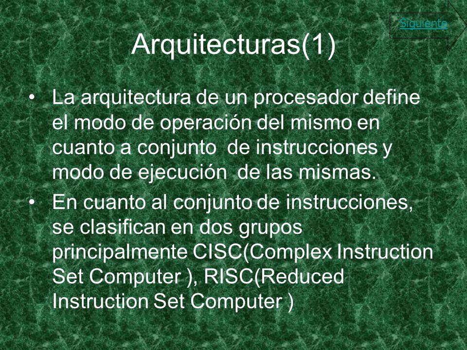 Arquitecturas(1) La arquitectura de un procesador define el modo de operación del mismo en cuanto a conjunto de instrucciones y modo de ejecución de l
