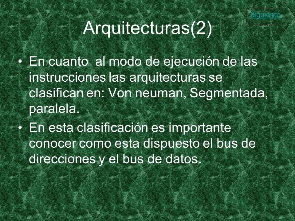 Arquitecturas(2) En cuanto al modo de ejecución de las instrucciones las arquitecturas se clasifican en: Von neuman, Segmentada, paralela. En esta cla