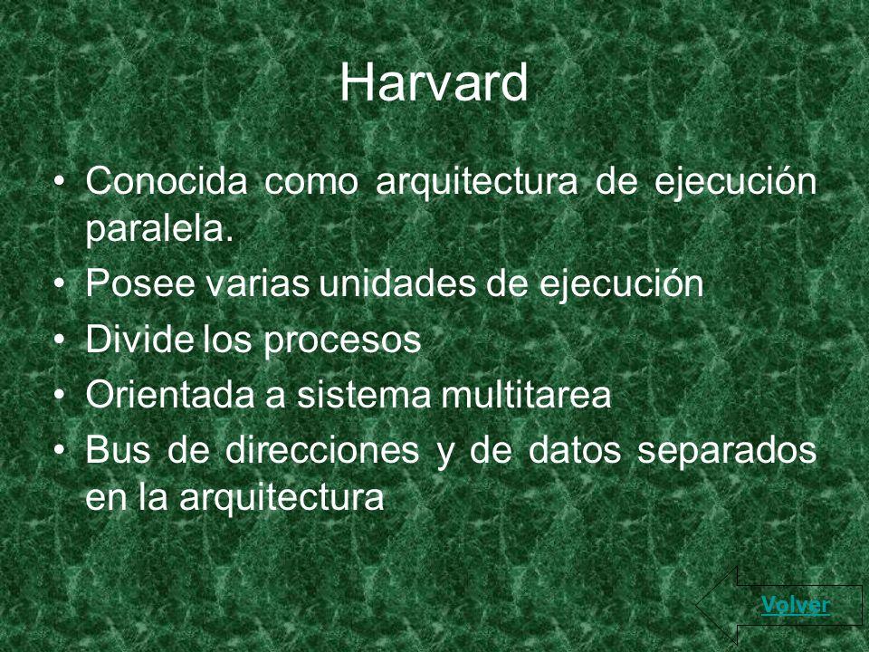 Harvard Conocida como arquitectura de ejecución paralela. Posee varias unidades de ejecución Divide los procesos Orientada a sistema multitarea Bus de