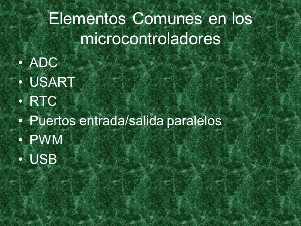 Elementos Comunes en los microcontroladores ADC USART RTC Puertos entrada/salida paralelos PWM USB