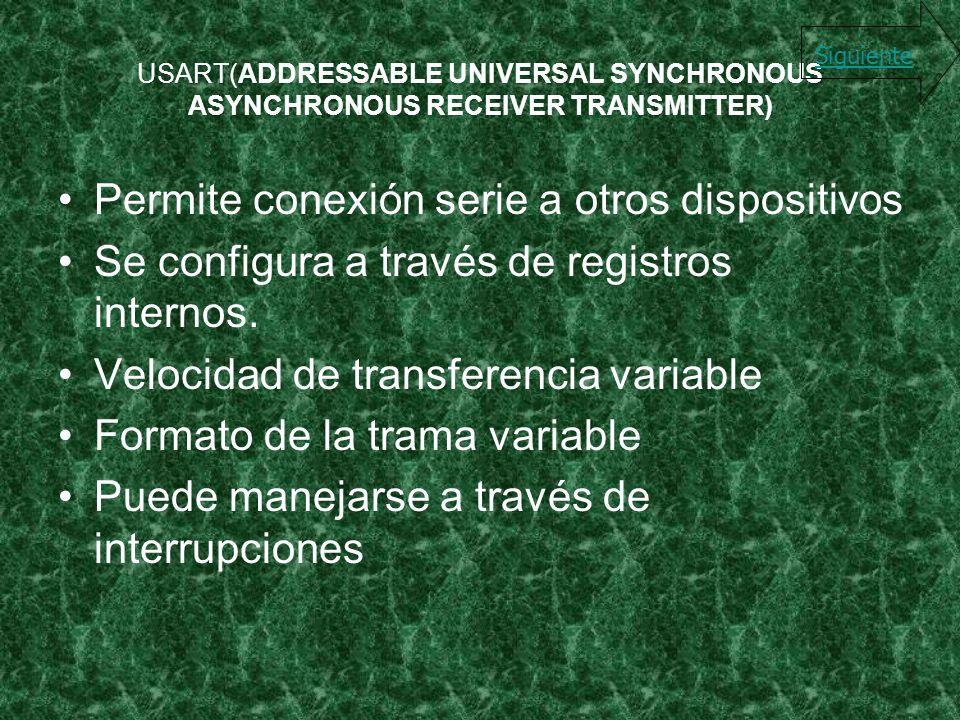 USART(ADDRESSABLE UNIVERSAL SYNCHRONOUS ASYNCHRONOUS RECEIVER TRANSMITTER) Permite conexión serie a otros dispositivos Se configura a través de regist