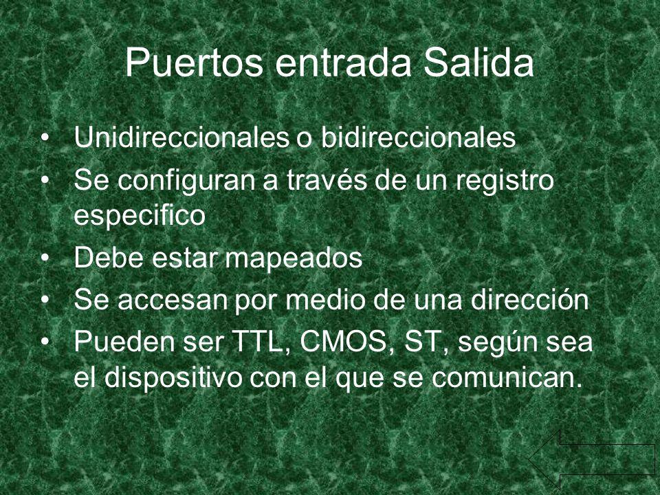 Puertos entrada Salida Unidireccionales o bidireccionales Se configuran a través de un registro especifico Debe estar mapeados Se accesan por medio de