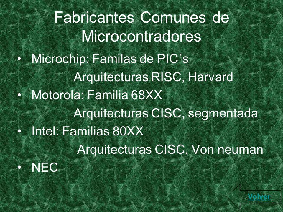 Fabricantes Comunes de Microcontradores Microchip: Familas de PIC´s Arquitecturas RISC, Harvard Motorola: Familia 68XX Arquitecturas CISC, segmentada