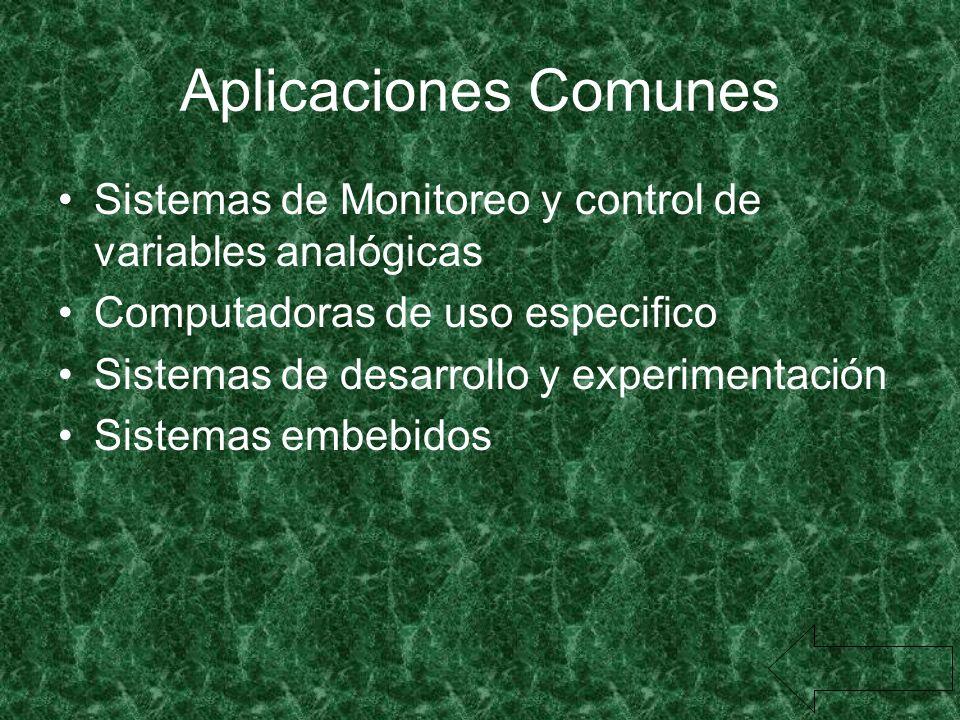 Aplicaciones Comunes Sistemas de Monitoreo y control de variables analógicas Computadoras de uso especifico Sistemas de desarrollo y experimentación S