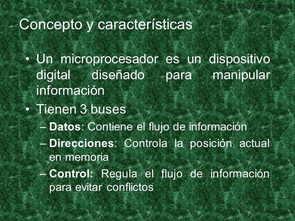 Concepto y características Un microprocesador es un dispositivo digital diseñado para manipular información Tienen 3 buses –Datos: Contiene el flujo d