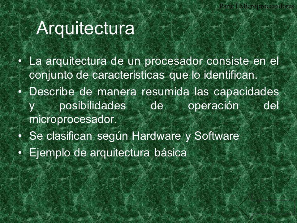 Arquitectura La arquitectura de un procesador consiste en el conjunto de caracteristicas que lo identifican. Describe de manera resumida las capacidad