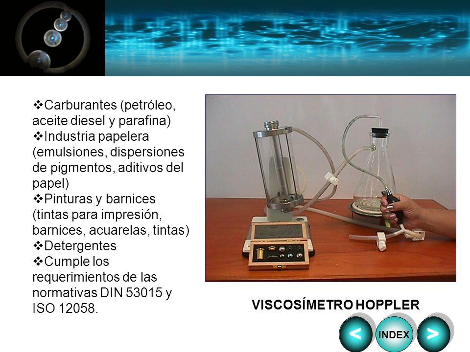 VISCOSÍMETRO HOPPLER Carburantes (petróleo, aceite diesel y parafina) Industria papelera (emulsiones, dispersiones de pigmentos, aditivos del papel) P