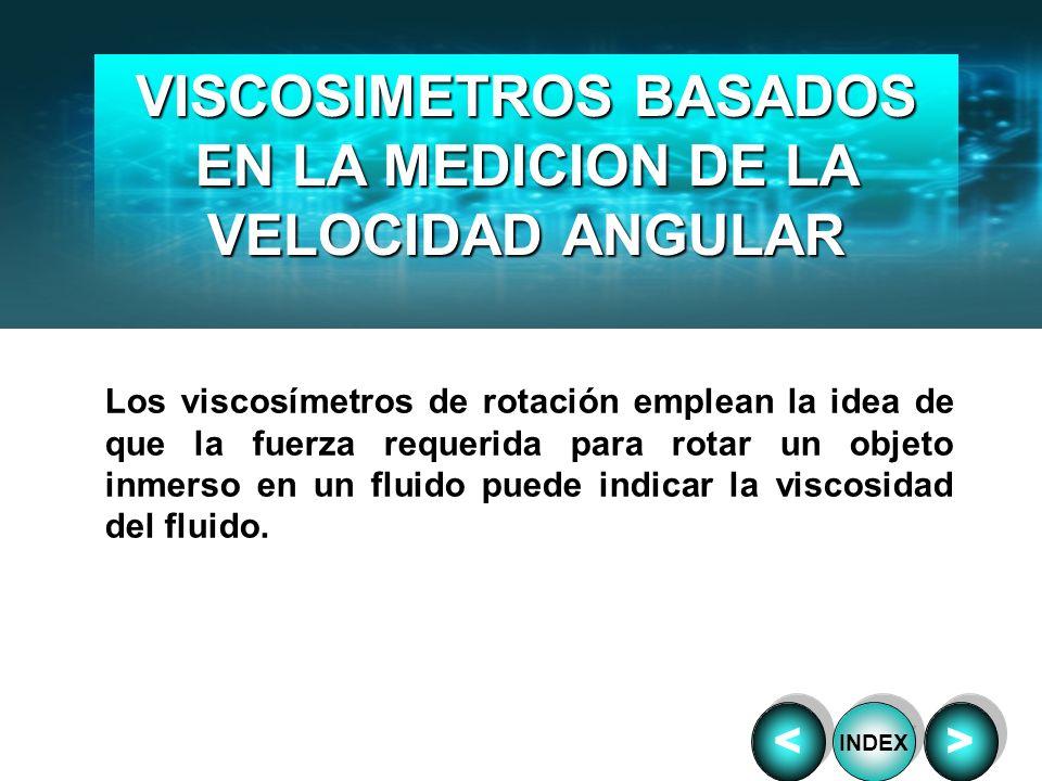VISCOSIMETROS BASADOS EN LA MEDICION DE LA VELOCIDAD ANGULAR Los viscosímetros de rotación emplean la idea de que la fuerza requerida para rotar un ob