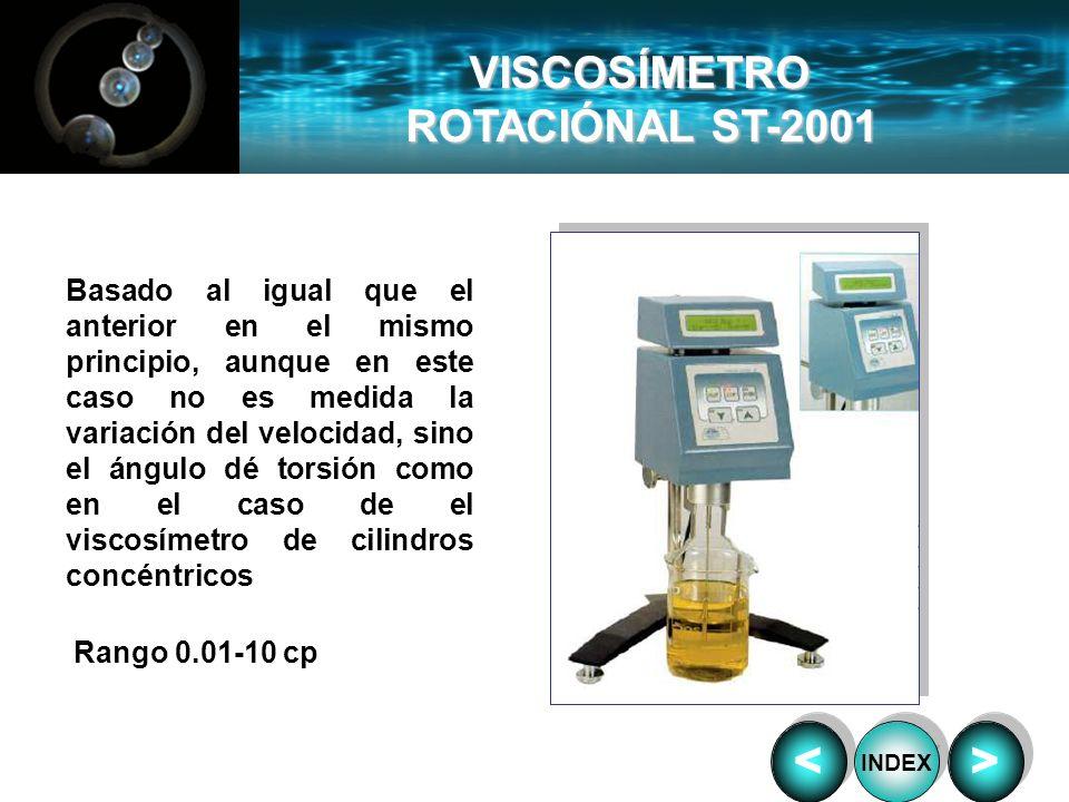 VISCOSÍMETRO ROTACIÓNAL ST-2001 Basado al igual que el anterior en el mismo principio, aunque en este caso no es medida la variación del velocidad, si