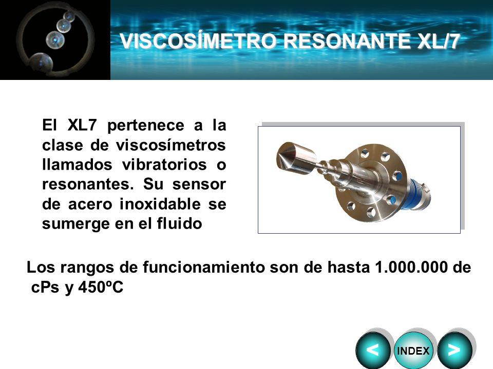 VISCOSÍMETRO RESONANTE XL/7 Los rangos de funcionamiento son de hasta 1.000.000 de cPs y 450ºC El XL7 pertenece a la clase de viscosímetros llamados v