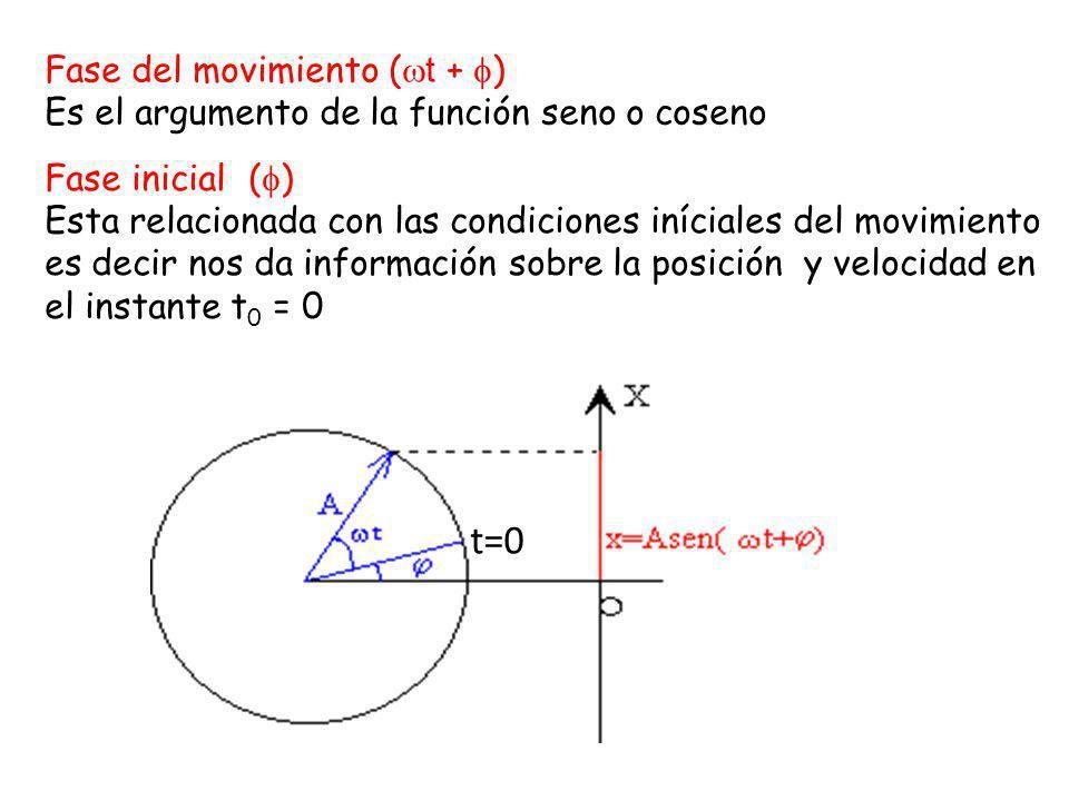 Periodo (T) Es el tiempo que tarda la partícula en dar una oscilación completa Frecuencia ( ) Es el número de vibraciones por unidad de tiempo =1/T Frecuencia angular ( ) Es el número de periodos comprendidos en 2 π segundos.