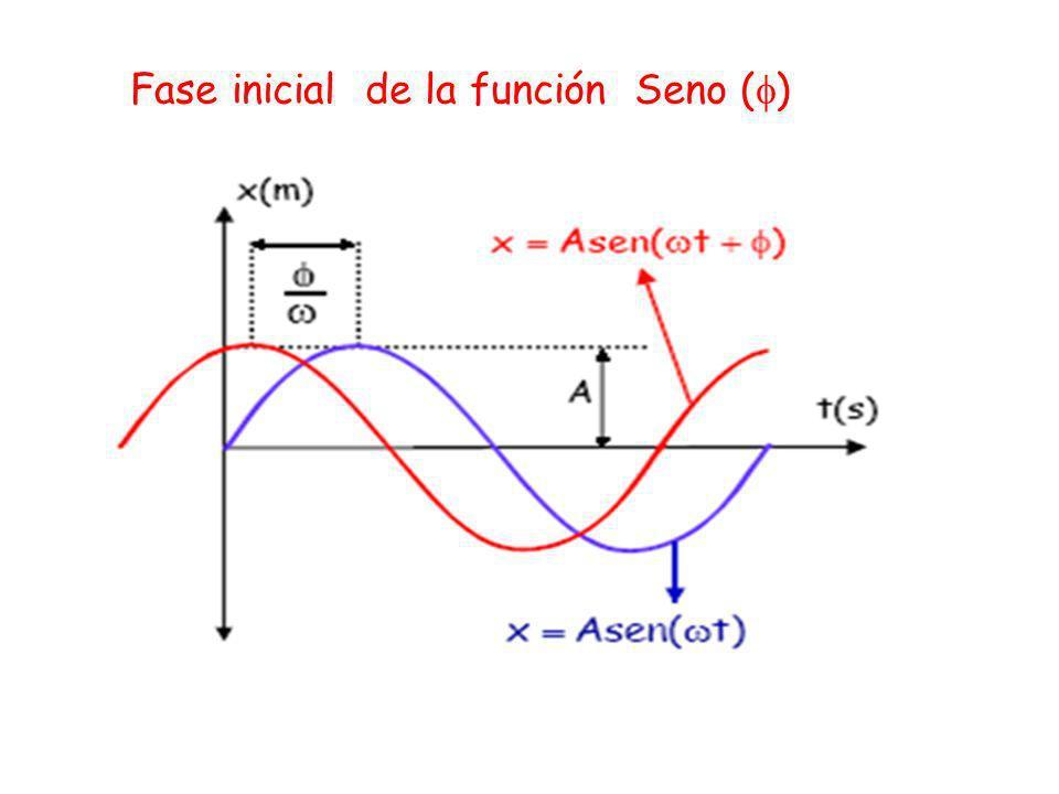 Fase del movimiento ( t + ) Es el argumento de la función seno o coseno Fase inicial ( ) Esta relacionada con las condiciones iníciales del movimiento es decir nos da información sobre la posición y velocidad en el instante t0 t0 = 0 t=0