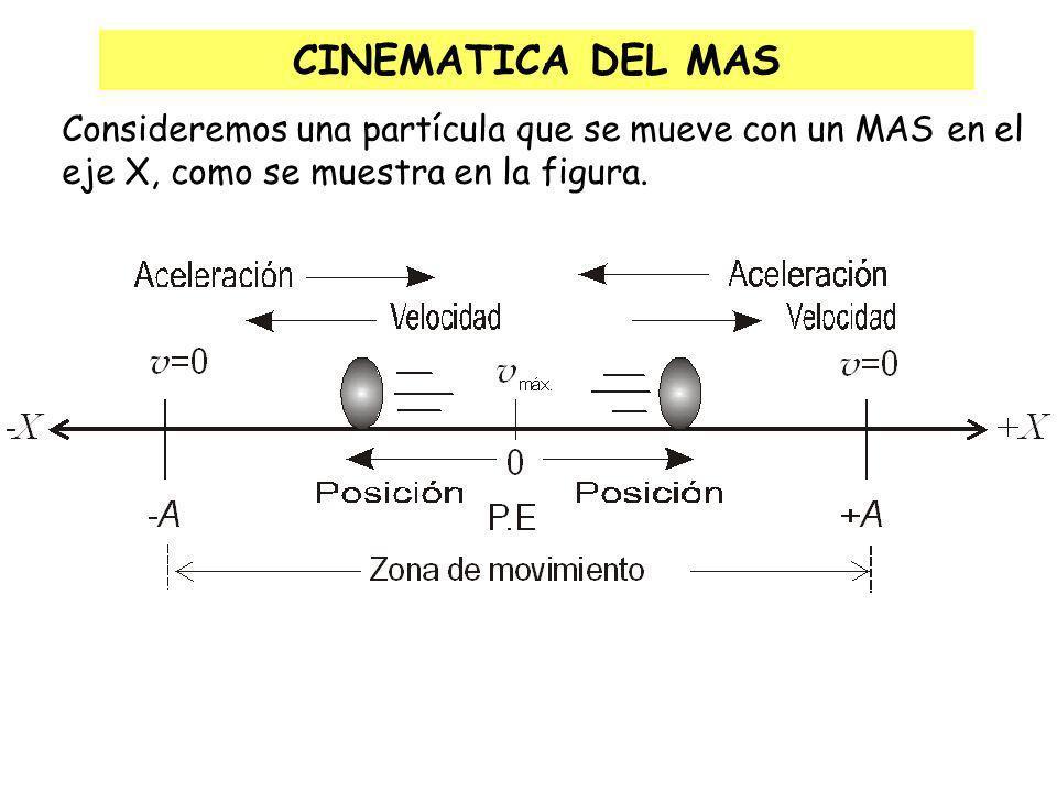 Cada revolución en el MCU se convierte en una oscilación en el MAS La proyección del vector velocidad del MCU sobre el diámetro da lugar al vector velocidad del MAS La proyección del vector aceleración normal del MCU sobre el diámetro da lugar al vector aceleración del MAS MAS y MCU
