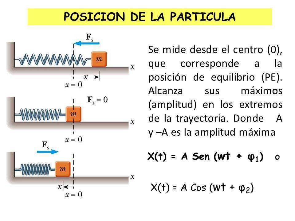 CINEMATICA DEL MAS Consideremos una partícula que se mueve con un MAS en el eje X, como se muestra en la figura.