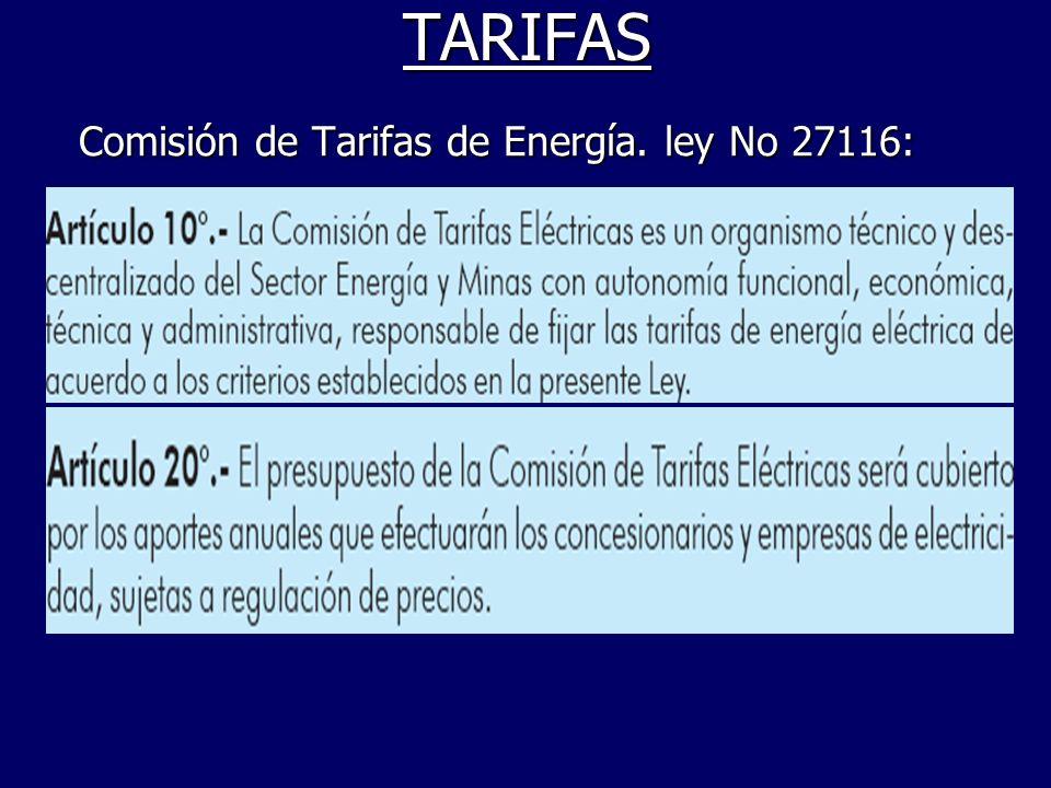 TARIFAS Comisión de Tarifas de Energía. ley No 27116: Comisión de Tarifas de Energía. ley No 27116: