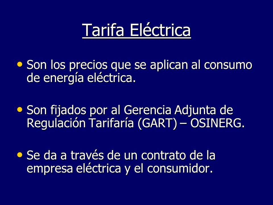 Son los precios que se aplican al consumo de energía eléctrica. Son los precios que se aplican al consumo de energía eléctrica. Son fijados por al Ger
