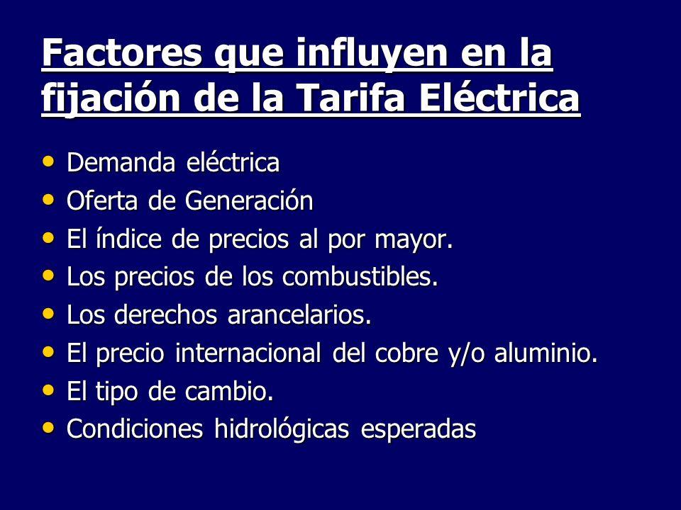 Factores que influyen en la fijación de la Tarifa Eléctrica Demanda eléctrica Demanda eléctrica Oferta de Generación Oferta de Generación El índice de