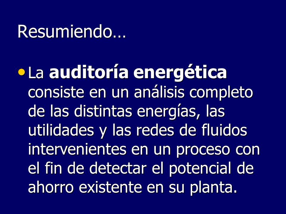 Resumiendo… La auditoría energética consiste en un análisis completo de las distintas energías, las utilidades y las redes de fluidos intervenientes e